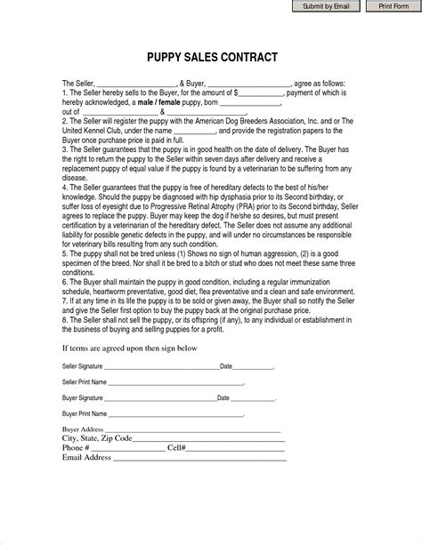 puppy contract 8 printable contracts timeline template