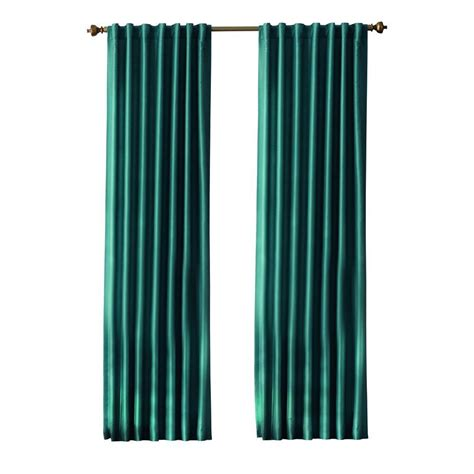 Home Decorators Collection Teal Slub Faux Silk Back Tab Home Depot Kitchen Curtains