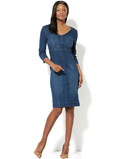 V Neck Midi Sheath Dress ny c stretchy denim v neck midi sheath dress rinse