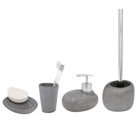 Grey Bathroom Accessories Set Wenko Pebble Grey Bathroom Accessories Set At Plumbing Uk