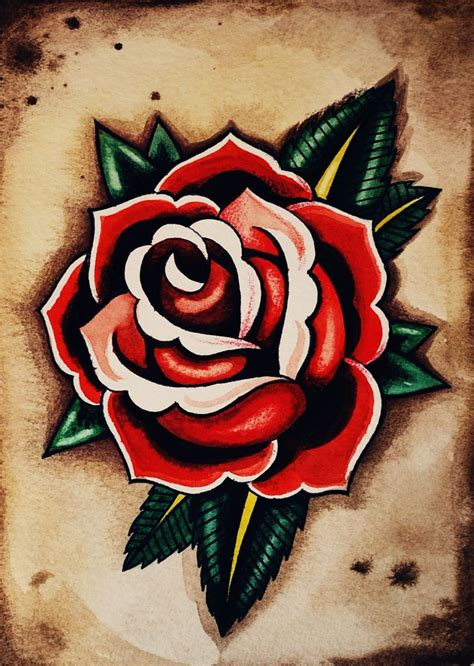 rose tattoo art school flash