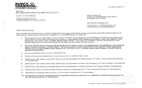 Sle Of Credit Approval Letter Navy Federal Credit Union Sale Approval Letter