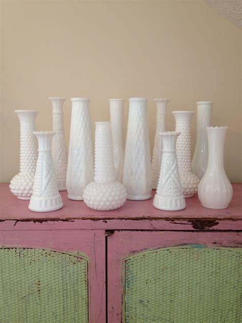 Vintage White Milk Glass Vases by Vintage White Milk Glass Vases Beautiful Instant