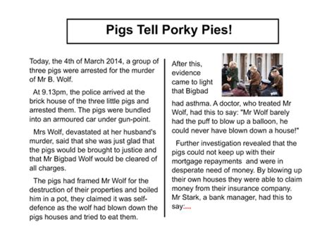 Newspaper Report Writing Year 3 Planning by Three Pigs Newspaper Report Big Write By Lastingliteracy Teaching Resources