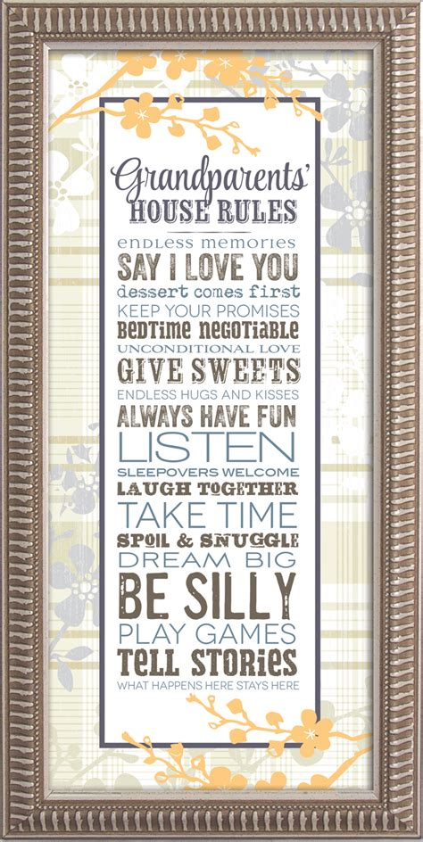 grandparents house rules framed decor