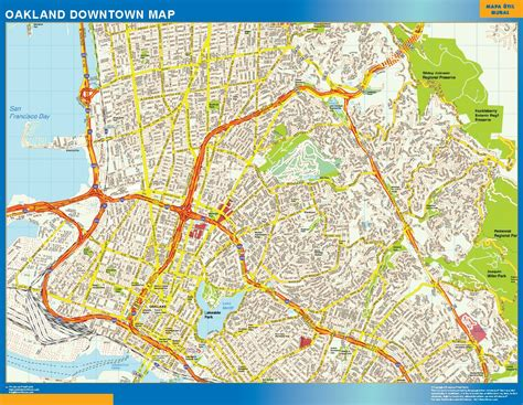 oakland usa map oakland downtown map netmaps usa wall maps shop