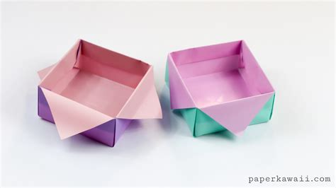 Paper Folded Box - origami masu box variation tutorial paper kawaii