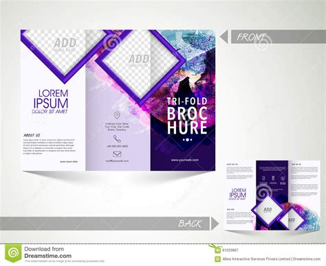two sided brochure template trifold brochure template or flyer for business stock