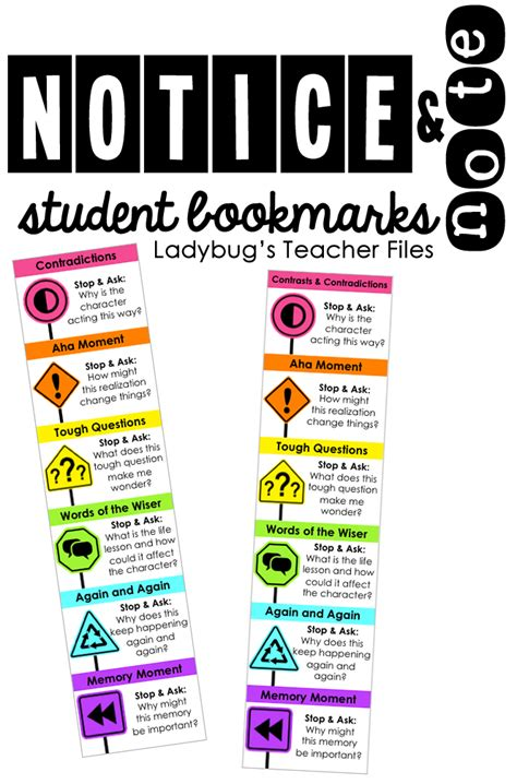 printable nonfiction bookmarks notice note student bookmarks ladybug s teacher files