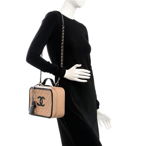 Chanel Cc Filigree Vanity Bag 1145 Tas Fashion Wanita Impor chanel caviar quilted large cc filigree vanity beige black 206661