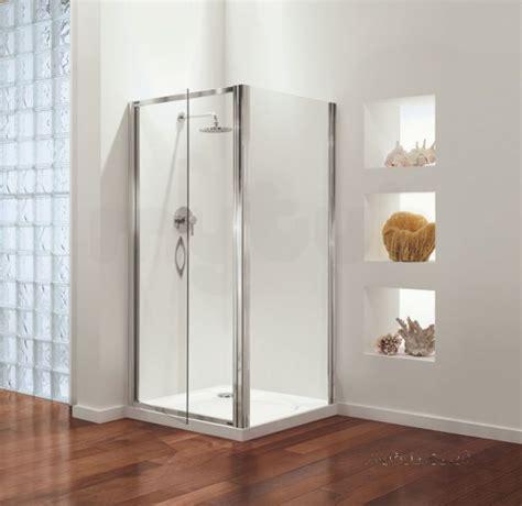 Satin Glass Shower Door 760mm Premier Swing Door Polished Silver Etched Satin