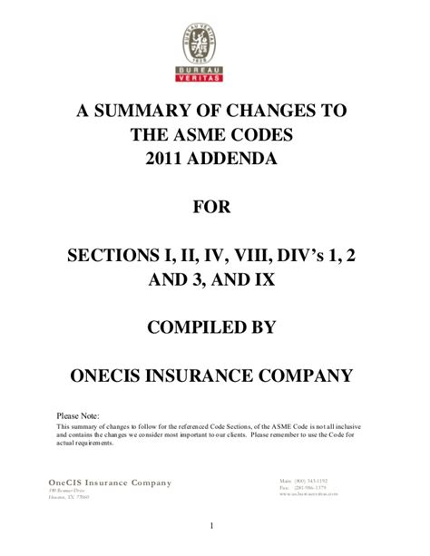 asme section 1 2011 addenda asme code synopsis by one cis insurance co