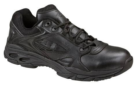black leather athletic shoes thorogood mens athletic black leather slip resisting shoes