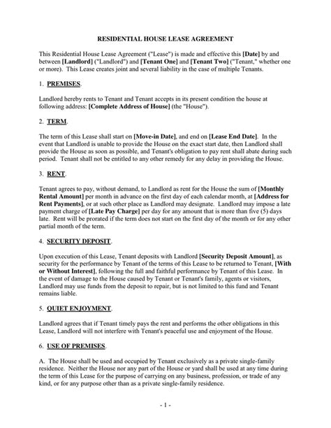 home lease agreement template residential house lease agreement in word and pdf formats