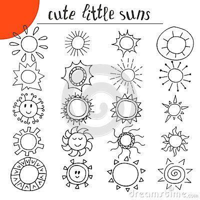 doodle cute pattern hand drawn cute little suns doodle set doodling