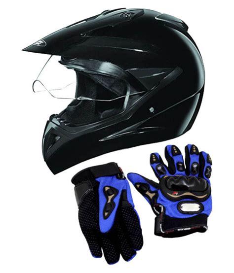 Studds Motocross Helmet With Gloves Full Face Helmet Black