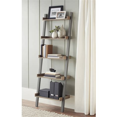 ladder shelf bookcases walmart leaning idolza