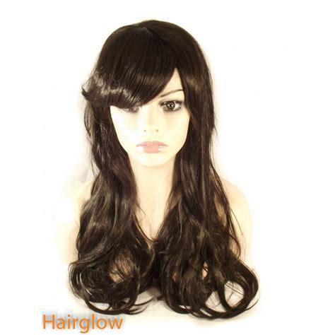long black curly human hair wig hairglow black side fringe long wavy human hair wig