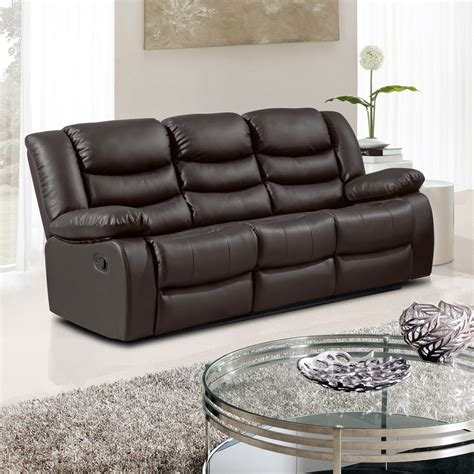 brown recliner sofa belfast dark brown recliner sofa collection in bonded leather