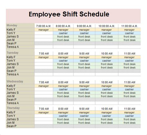 employee schedule template employee schedule template 5 free documents in