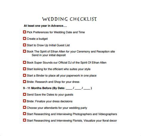 Wedding Preparation by Sle Wedding Planning Checklist 6 Documents In Pdf Word