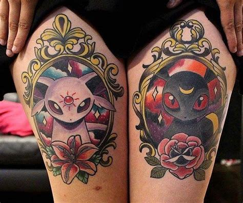 tattoo don t use lotion espeon and umbreon tattoo done by nicolethirdeye to