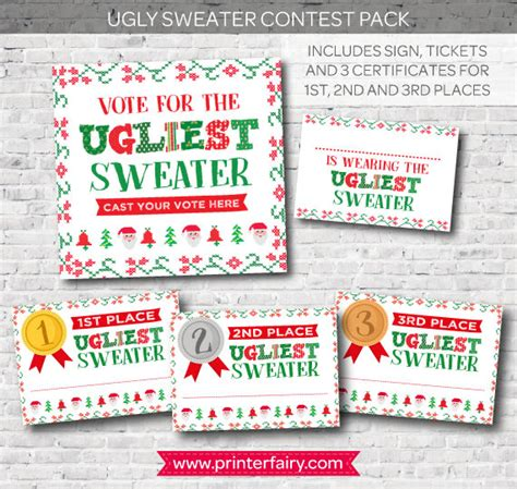 printable ugly sweater certificate no download sweater contest printables birthday vote for the ugliest