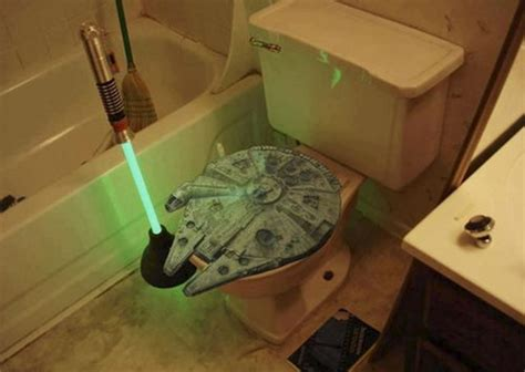 Bathroom Buddy Replica Lightsaber Plunger And Millennium Falcon Toilet Seat