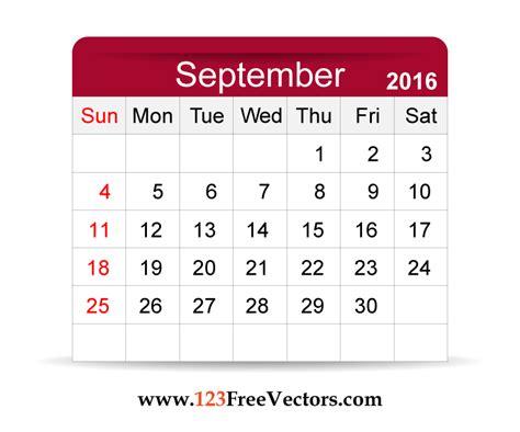 Calendar Clip Free Vector 2016 Calendar September Free Vector