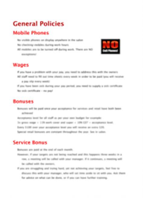 Policies Procedures Product Categories Worldwide Salon Marketing Webstoresalon Templates Free Salon Employee Handbook Template