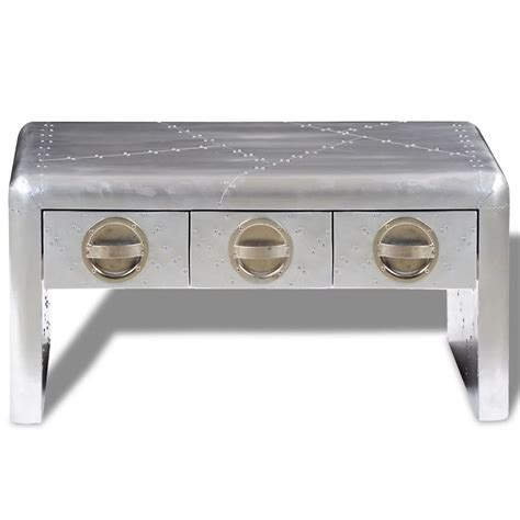 Aluminium Coffee Table Vidaxl Co Uk Aviator Aluminium Coffee Table 3 Drawers Vintage Aircraft Airman