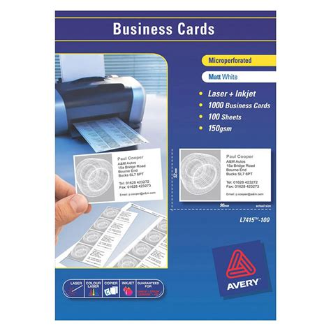 Avory Template Buisness Cards by Avery Laser Business Cards L7415 90x52mm Cos Complete