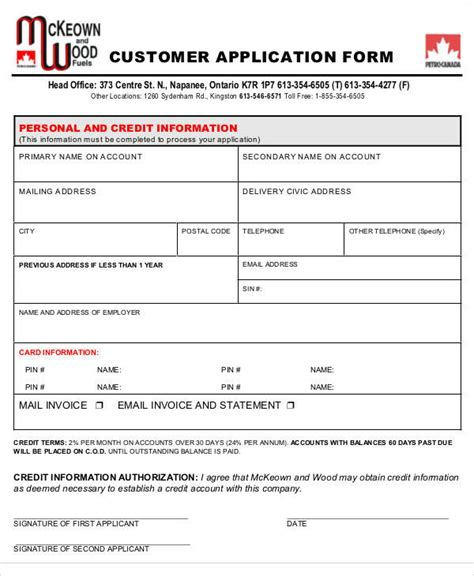 customer credit application form template application form formats