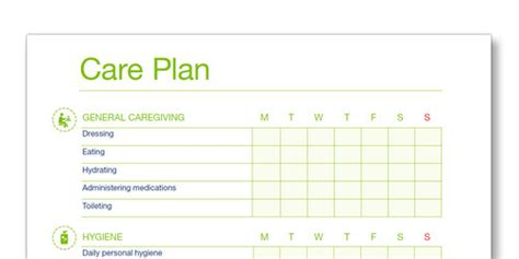 Family Care Giving Advice From Experienced Caregivers Daily Care Plan For Elderly Template