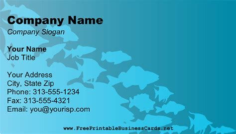 dive card scuba fish business card
