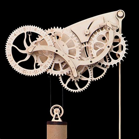 Cool Wall Clocks by Wooden Mechanical Clock Kit Thinkgeek