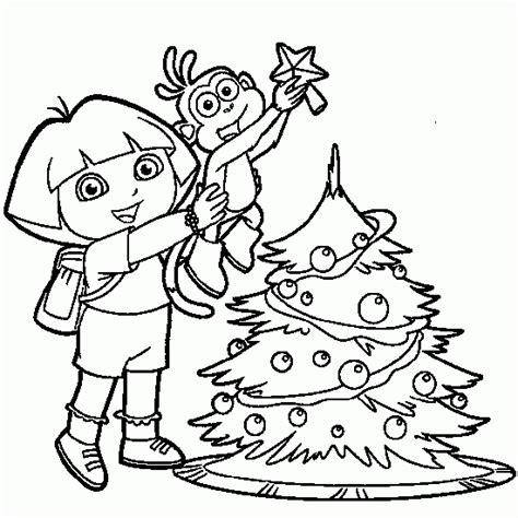 Dora Christmas Coloring Pages Printable | dora the explorer coloring dora tico christmas tree
