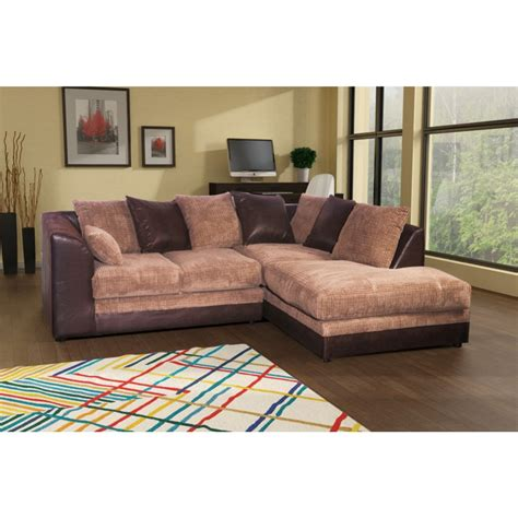 stunning brown and beige cord corner sofa left or right