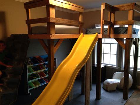 boys  shaped loft bed    rock wall girls