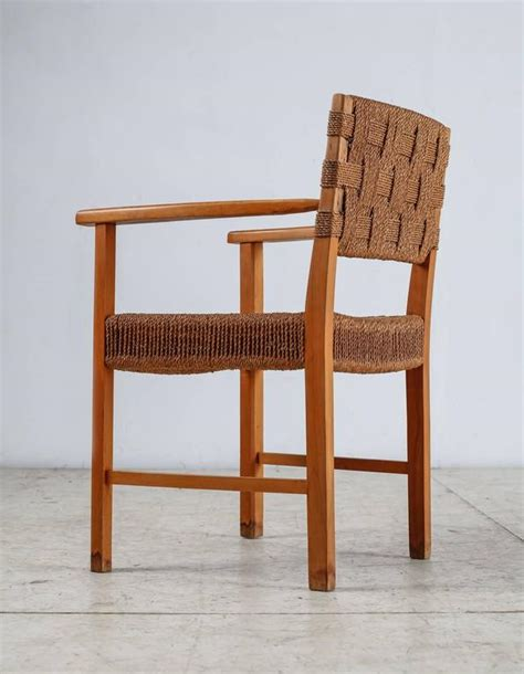 seagrass armchair beech and woven seagrass armchair denmark 1940s for sale