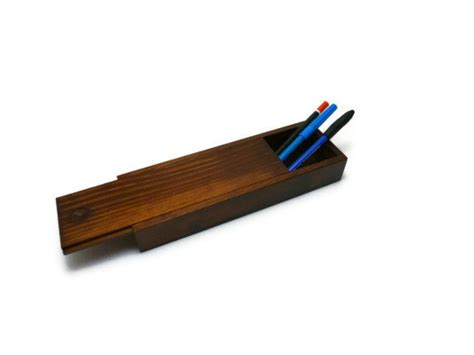 best pencil for woodworking wood pencil slide top box by princezices on etsy