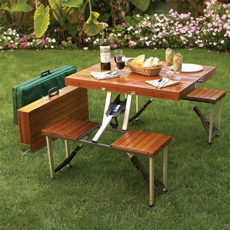 Folding Wooden Picnic Table Outdoor Rectangle Small Portable Folding Wooden Picnic Table With Stainless Steel Base Ideas