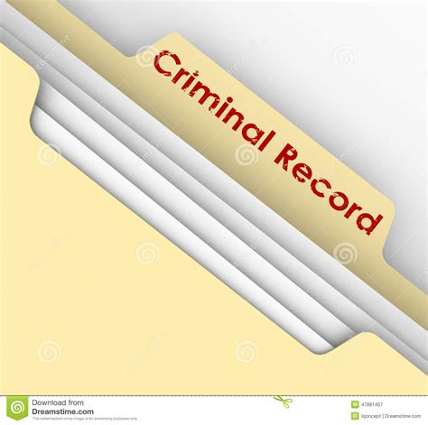 No Criminal Record Criminal Record Manila Folder Crime Data Arrest File Stock