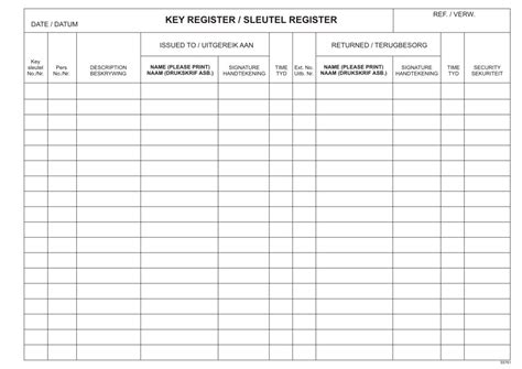 key register template rbe a4 key register