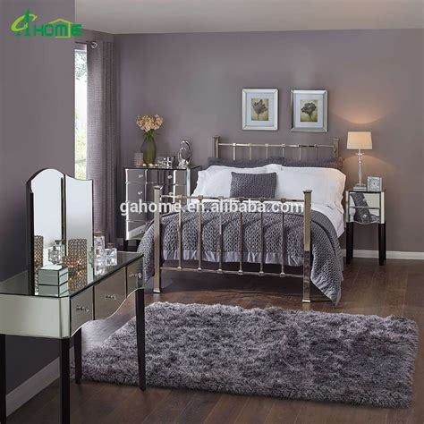 mirrored furniture bedroom modern fashion bedroom interior decor mirrored furniture collection with pair of bedside table