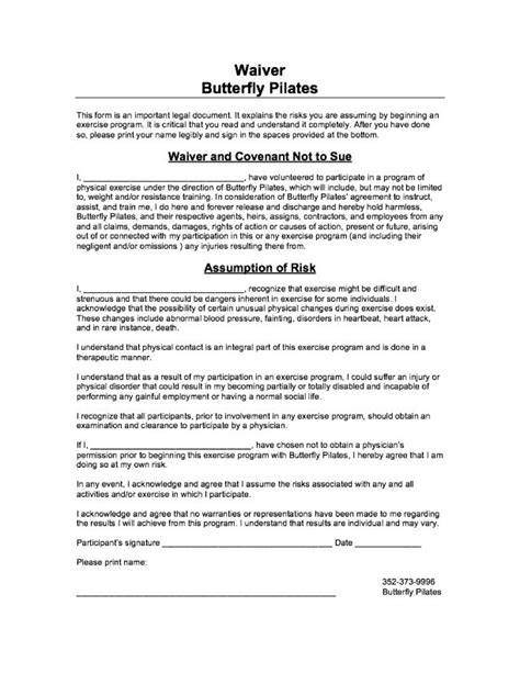 waiver form template free printable documents