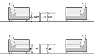standard couch height coffee table proper size