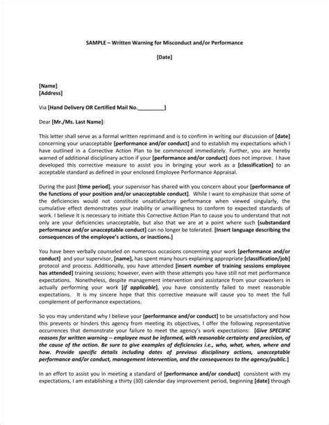 company warning letter templates samples examples