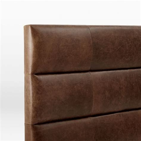 panel tufted premium leather headboard west elm