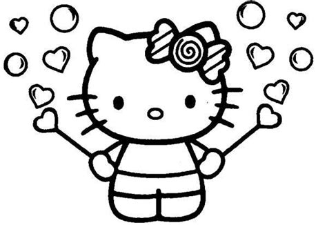 hello kitty coloring pages with hearts plantillas de hello kitty para imprimir gratis